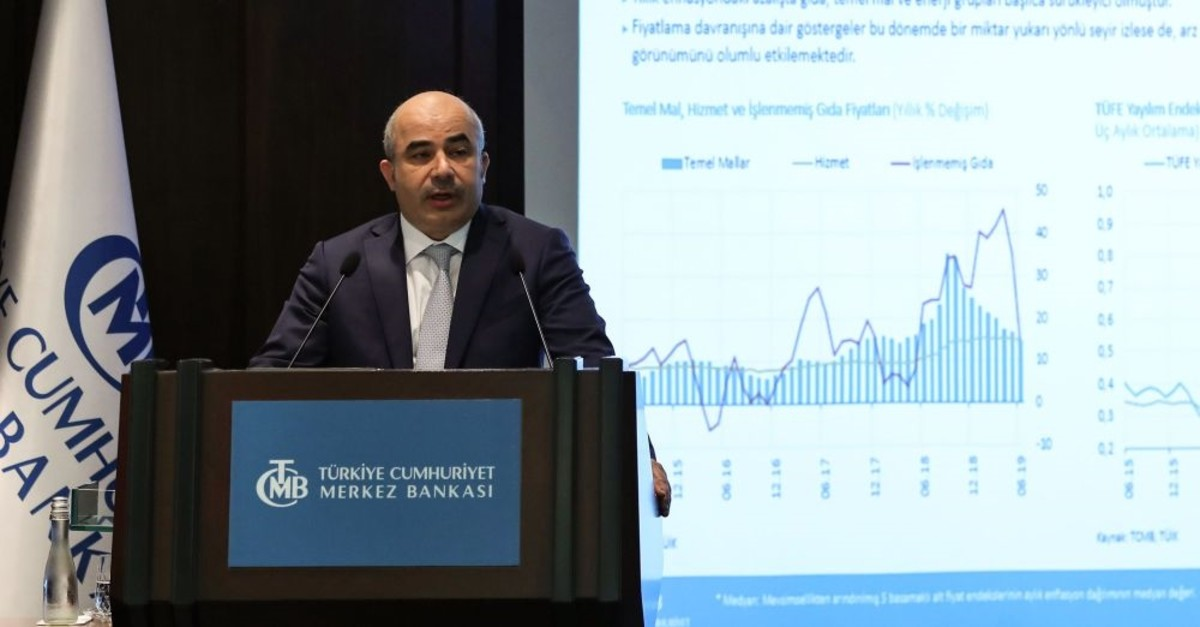 Governor of Central Bank of the Republic of Turkey (CBRT), Murat Uysal, presents the Inflation Report 2019-III during a press conference, Ankara, July 31, 2019.