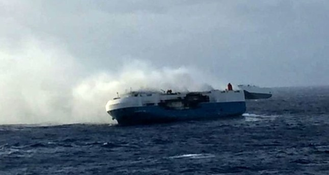 Huge vessel carrying Nissan cars catches fire in Pacific