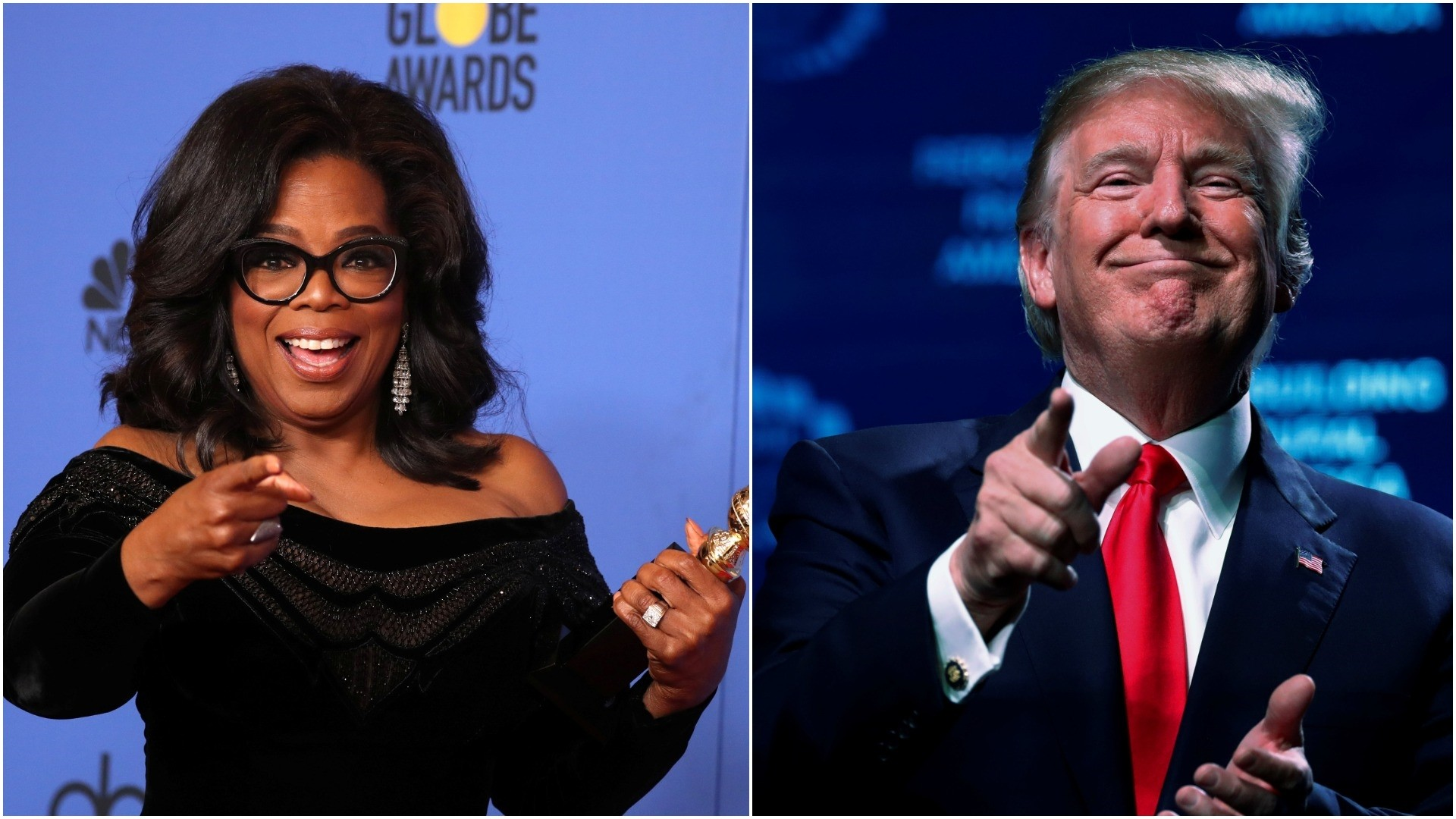Oprah poses backstage at the 75th Golden Globe Awards in Beverly Hills/ Trump concludes his remarks at the American Farm Bureau Federation convention in Nashville. (REUTERS Photo)