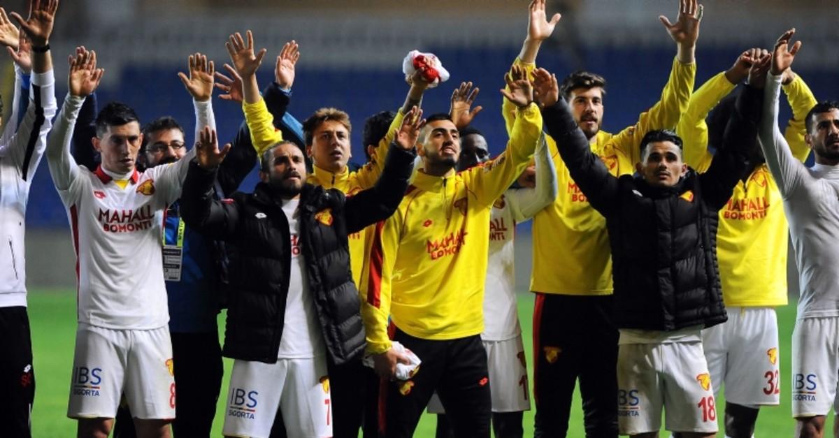 Gu00f6ztepe players celebrate their win against Bau015faku015fehir after the 30th week match at the Fatih Terim Stadium in Bau015faku015fehir, Istanbul, April 26, 2019. (IHA Photo)
