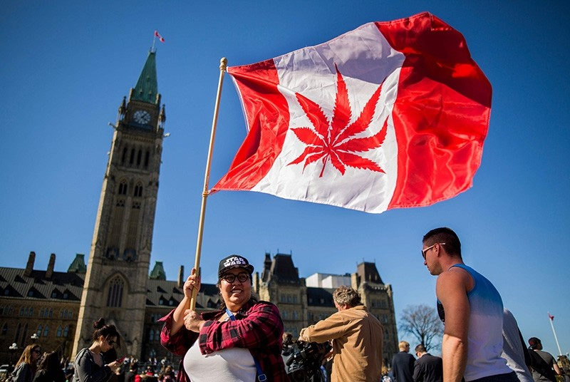In this file photo taken on April 20, 2016 showing a woman waving a flag with a marijuana leaf on it next to a group gathered to celebrate National Marijuana Day on Parliament Hill in Ottawa, Canada. (AFP Photo)