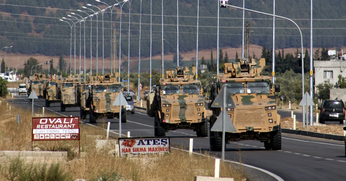 Turkish military vehicles drive to the Syrian border as Operation Peace Spring started hitting PKK-linked terrorist formations in northern Syria, near the southeastern Turkish town of u015eanlu0131urfa, Oct. 9, 2019.