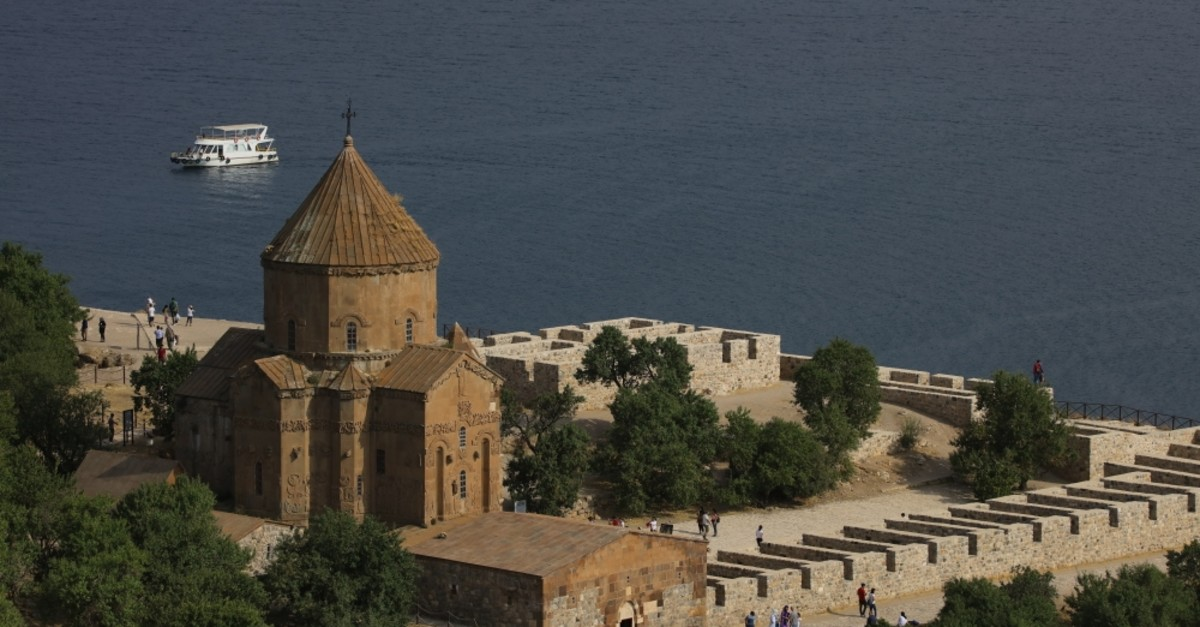 The 10th century Armenian Church of the Holy Cross is located on Akdamar Island in Van.