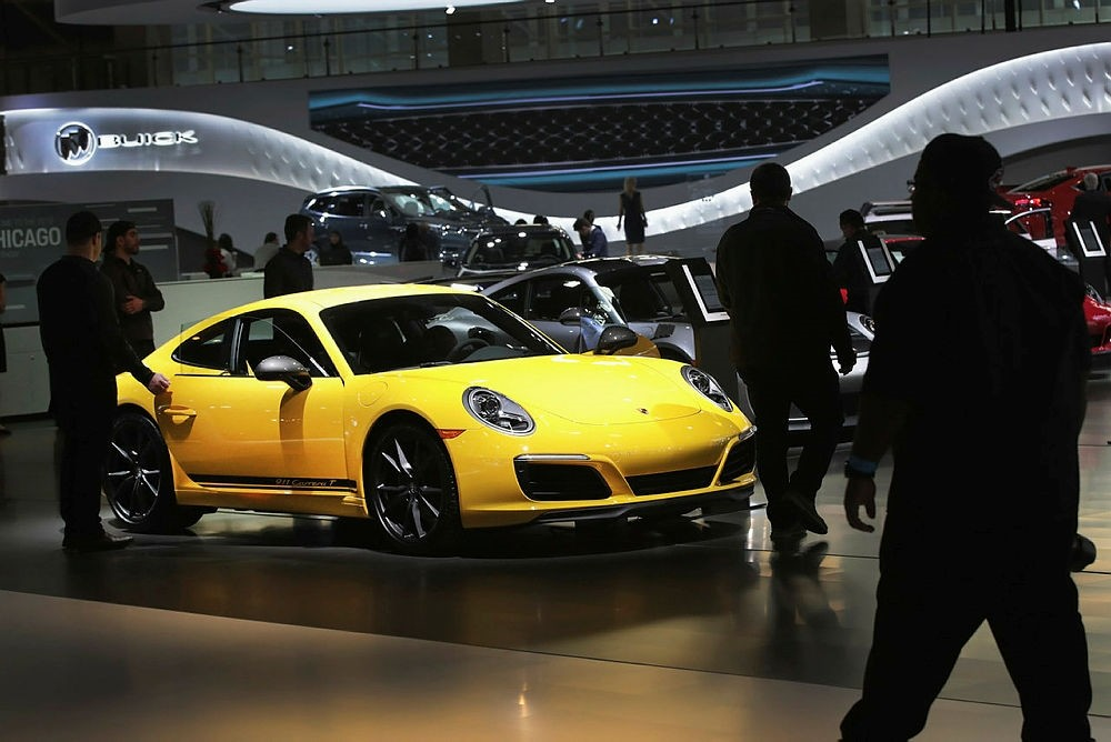 Porsche shows off a $111,000 2018 911 Carrera T at the Chicago Auto Show.