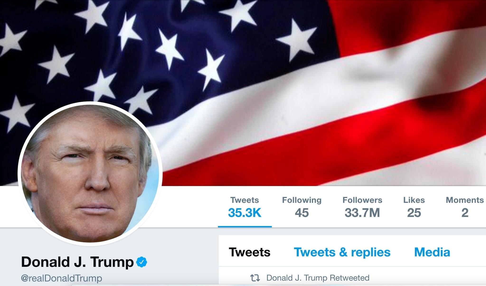 The masthead of U.S. President Donald Trump's @realDonaldTrump Twitter account is seen on July 11, 2017. (Handout via REUTERS)