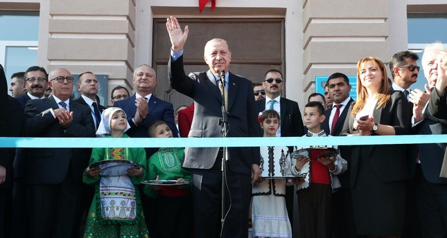 President Recep Tayyip Erdoğan attends an inauguration ceremony in Comrat, Gagauz Autonomous Republic, yesterday.