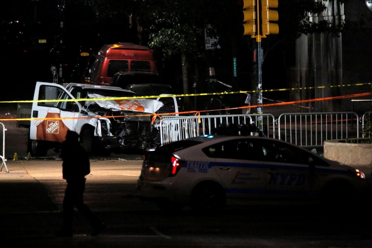The pickup truck used in an attack on the West Side Highway sits behind police tape in Manhattan, New York, U.S., November 1, 2017. (Reuters Photo)