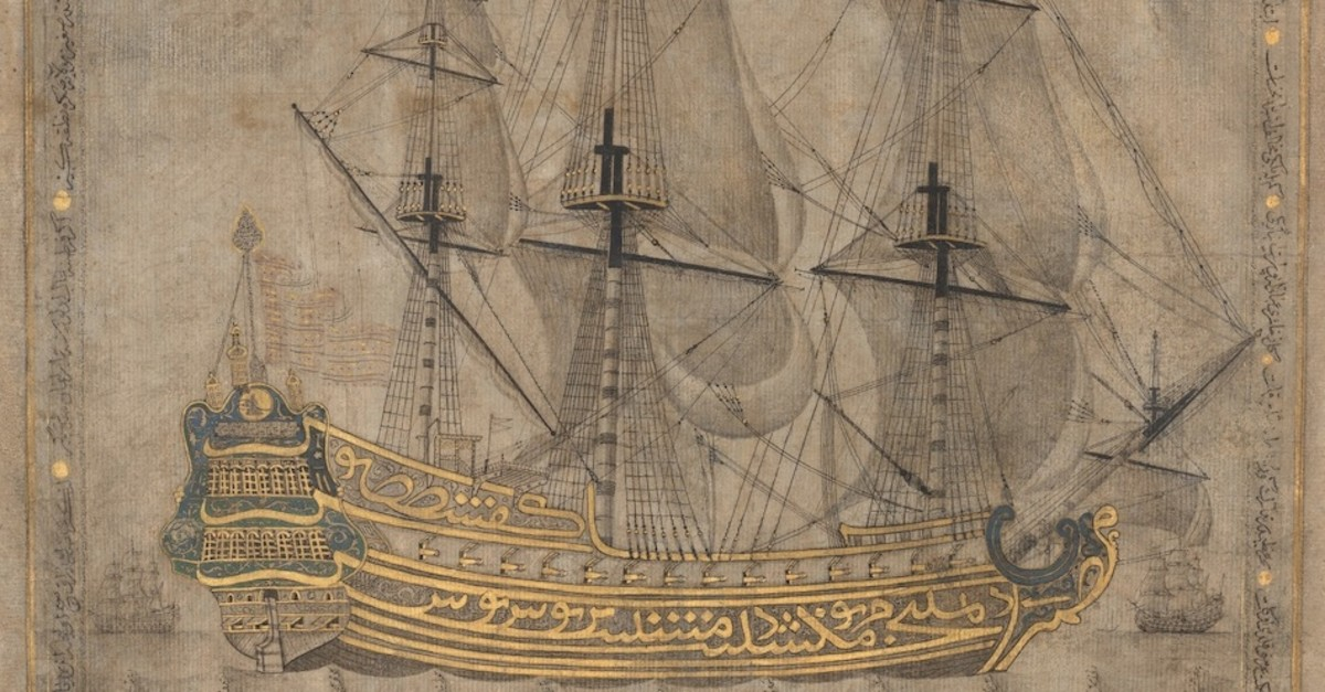 Calligraphic Galleon (1766u201367) by Abd al-Qadir Hisari, Turkey, ink and gold on paper.