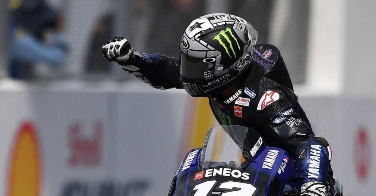 Monster Energy Yamaha's Spanish rider Maverick Vinales celebrates his victory in the MotoGP-class Malaysian Grand Prix motorcycle race at the Sepang International Circuit in Sepang, Nov. 3, 2019. (AFP Photo)