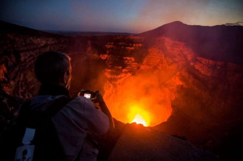 Masaya Volcano, located 20 kilometers (12 miles) south of Managua, features a lava lake and is a big draw for scientists and tourists alike (AFP Photo)