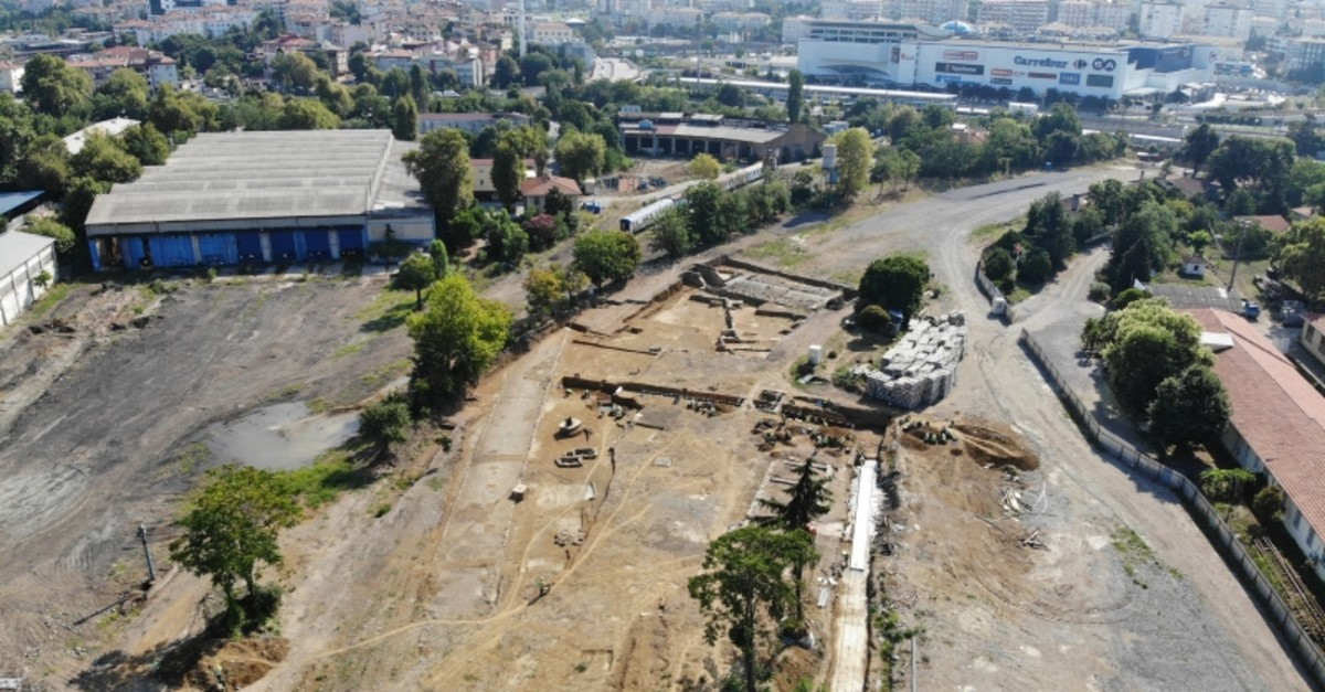 Drone footage shows the area where the 1,500-year-old church was found in Istanbul's Kadu0131ku00f6y district on the Asian side (IHA Photo)