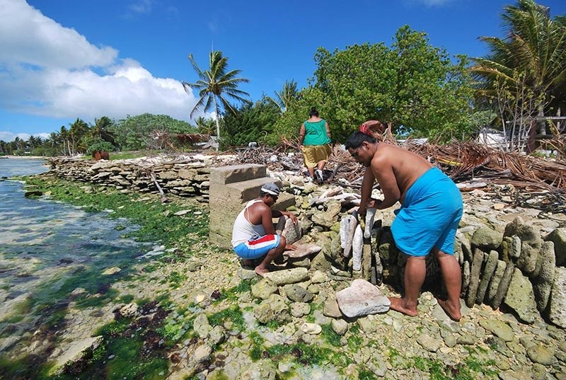 An undated handout picture released by the secretariat of the Pacific community (SPC) shows inhabitants of Kiritimati coral atoll building a stone seawall against the rising sea level (AFP Photo)