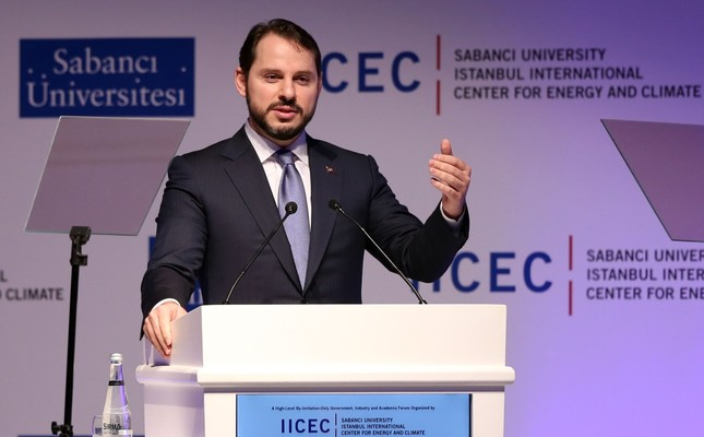 Energy and Natural Resources Minister Berat Albayrak gives a speech at the 8th International Energy and Climate Forum of Sabancı University's Istanbul International Center for Energy and Climate Center.