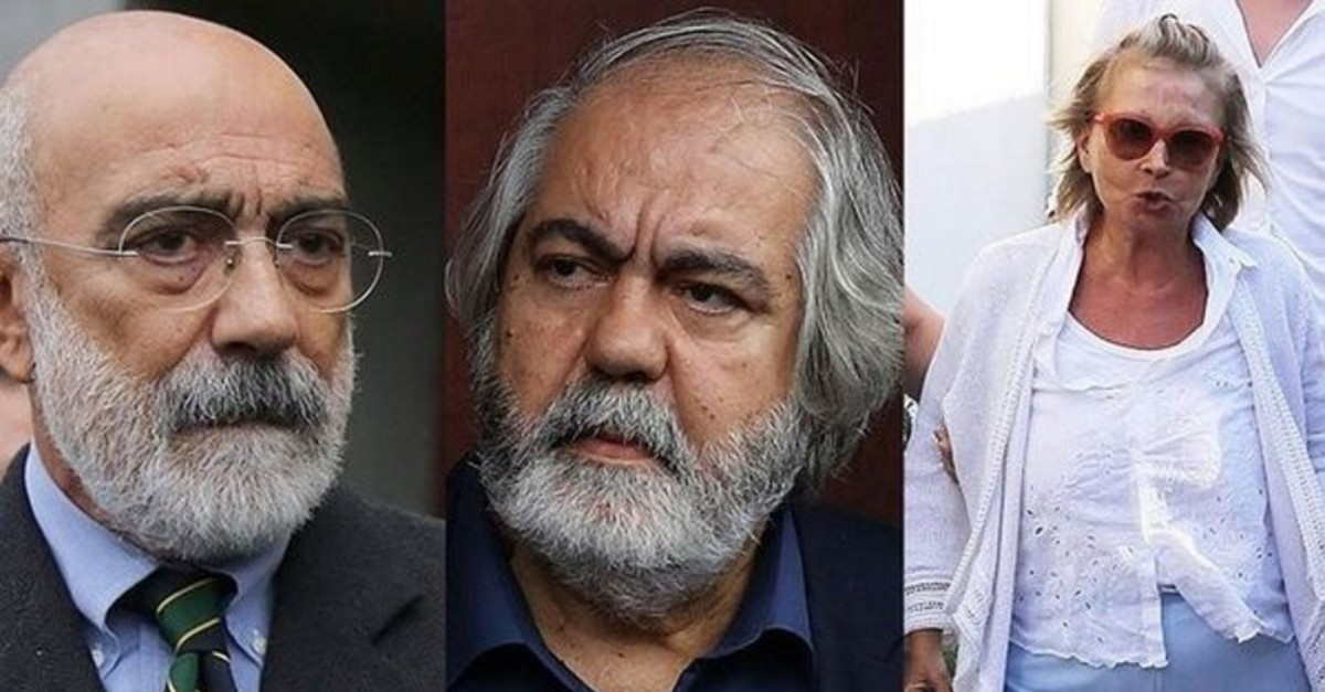 Three prominent figures who are accused of serving as the media arm of FETu00d6, Ahmet Altan (L), Mehmet Altan (M) and Nazlu0131 Ilu0131cak (R). (Sabah Photo)