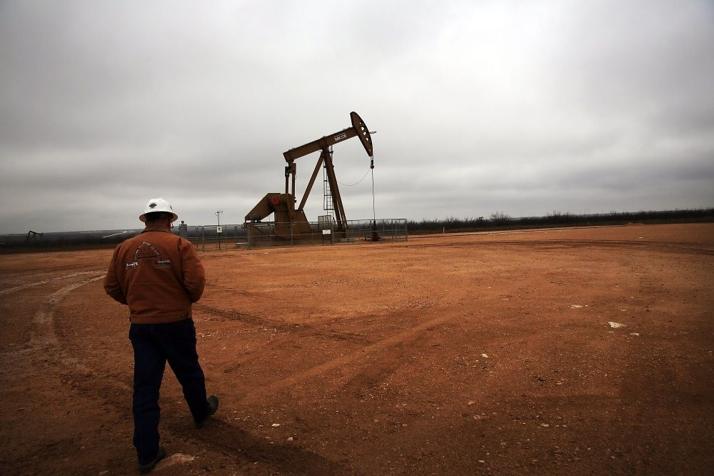 An oil well owned and operated by the Apache Corporation in the Permian Basin in Texas.