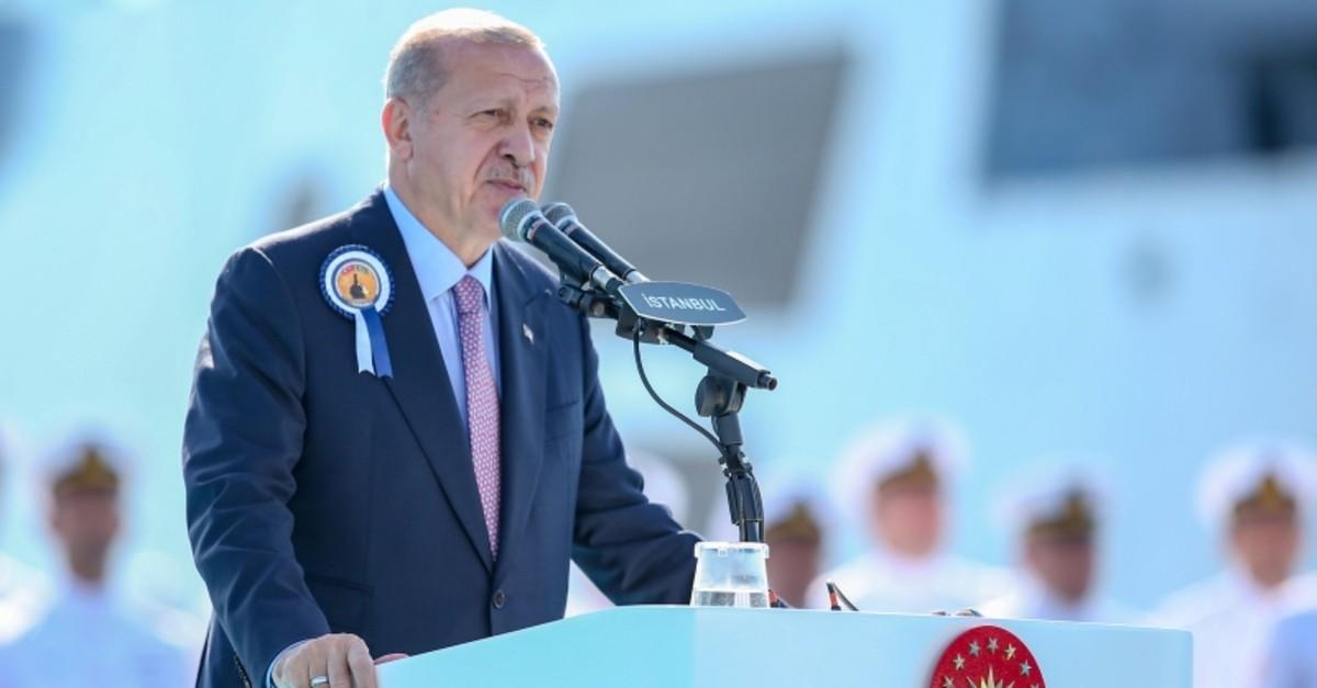 President Erdou011fan speaking at the comissioning event of TCG Ku0131nalu0131ada, Istanbul, Turkey, Sept. 29, 2019. (AA Photo)