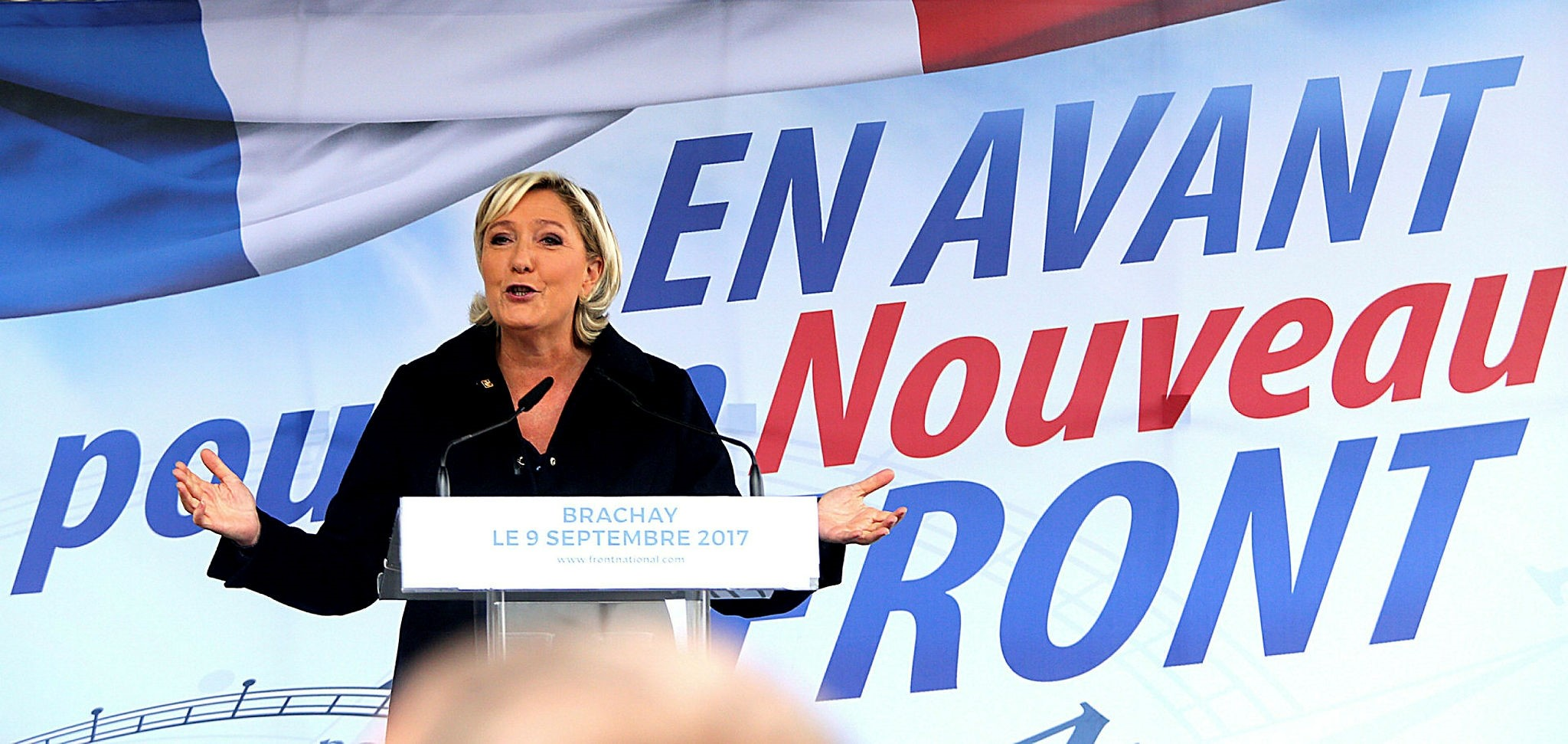 Marine Le Pen of the Front National delivers a back-to-work speech in Brachay, Sept. 9.