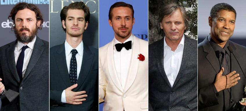 (L-R) Casey Affleck, Andrew Garfield, Ryan Gosling, Viggo Mortensen and Denzel Washington. (Reuters Photo)