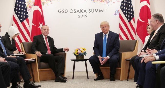 President Recep Tayyip Erdoğan (L), U.S. President Donald Trump and their delegations during a meeting on bilateral relations at the G20 summit, Osaka, Japan, June 29, 2019.