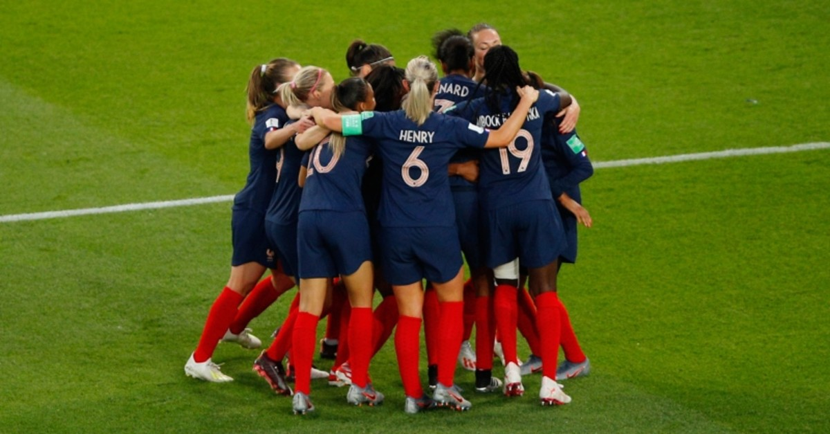 France players celebrates after her teammate Wendie Renard scored her side's third goal, during the Women's World Cup Group A football match at the Parc des Princes in Paris, Friday, June 7, 2019. (AP Photo)