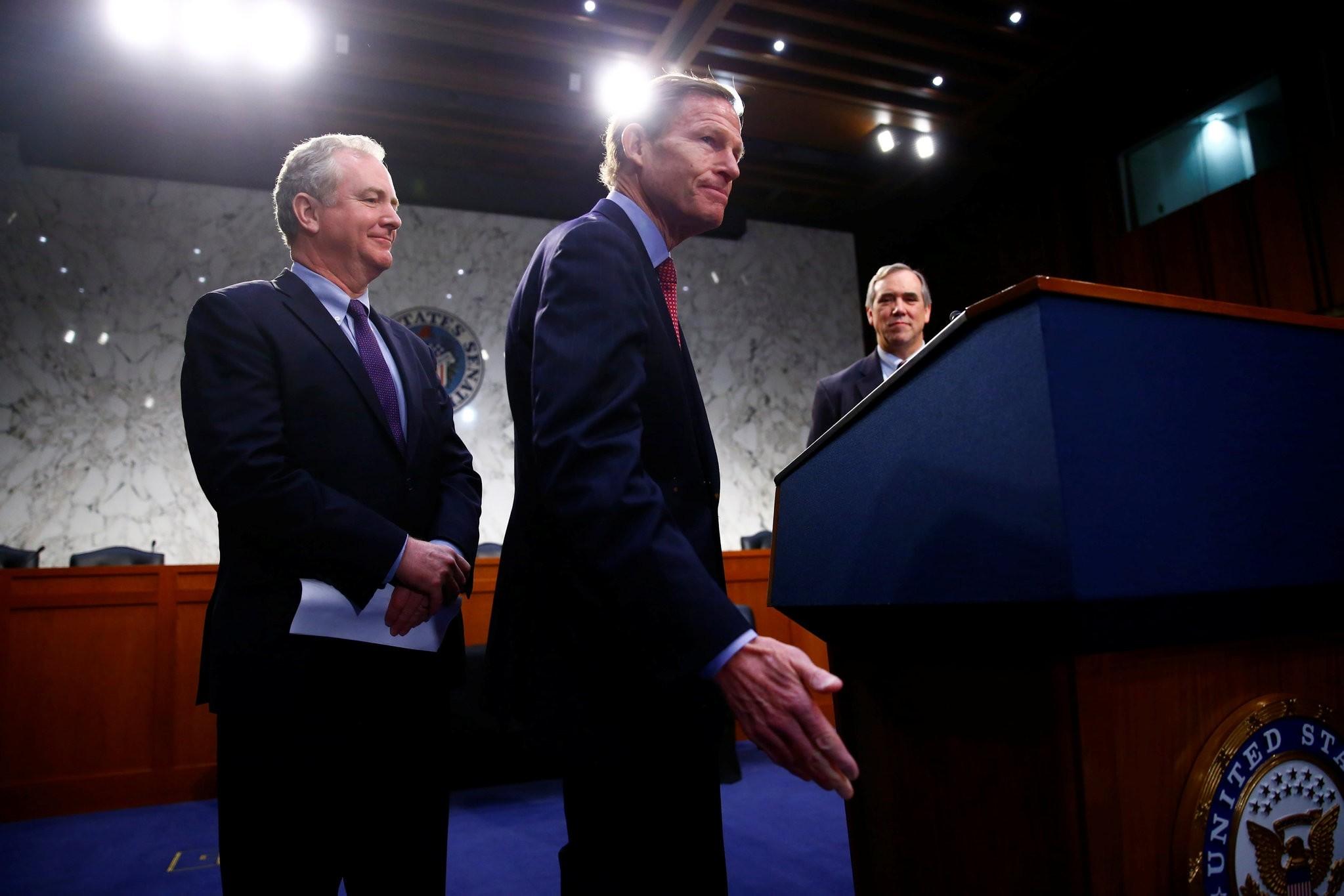 Sen. Richard Blumenthal, Sen. Jeff Merkley and Sen. Christopher Van Hollen hold a press conference in opposition of Neil Gorsuch. (REUTERS Photo)