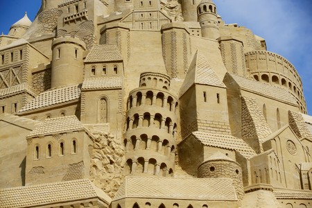 A close-up picture from the world's highest sand castle shows the famous