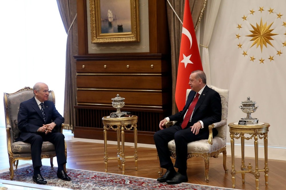 President Recep Tayyip Erdou011fan meets with MHP leader Devlet Bahu00e7eli (L) at the Beu015ftepe Presidential Complex in Ankara, April 18.