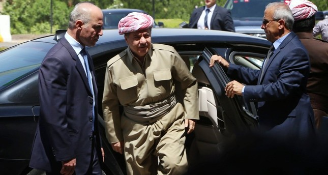 Iraqi Kurdistan Regional Government President Masoud Barzani arrives for a session of parliament , July 3, 2014, Irbil.