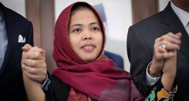 Indonesian Siti Aisyah poses for a photo after a press conference at Indonesian Embassy in Kuala Lumpur, Malaysia, Monday, March 11, 2019. (AP Photo)