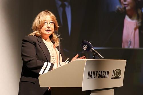 Gülnur Aybet, chief adviser to President Recep Tayyip Erdoğan, speaks at the event. (Daily Sabah Photo)