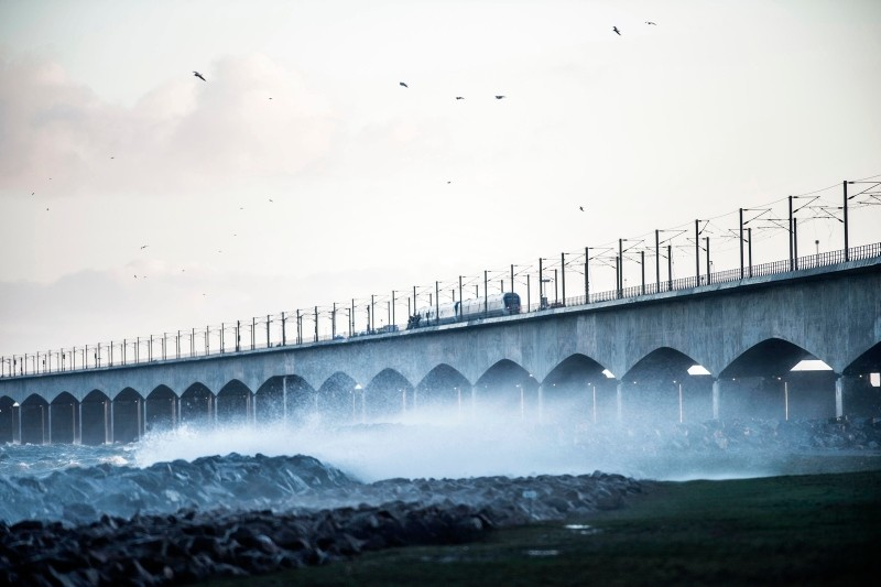 The Great Belt Bridge in Nyborg, Denmark, Jan. 2, 2019, after a train accident. (EPA Photo)