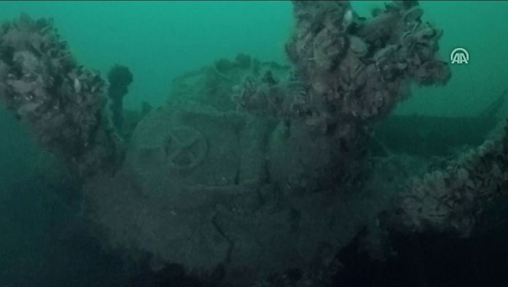 A screengrab from a video shows the sunken U-23 German submarine. (AA Photo)