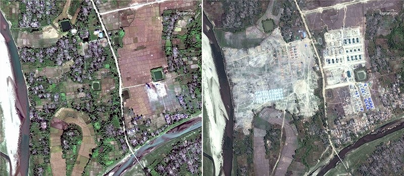 This combination of two satellite images provided by DigitalGlobe, Dec. 2, 2017, left; and Feb. 19, 2018, right; displaying the village of Thit Tone Nar Gwa Son, about 50 kilometers (30 miles) north of Maungdaw, Rakhine state, Myanmar. (AP Photo)