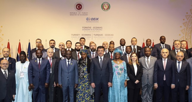 Economy Minister Zeybekci (C) and ministers and senior officials from African countries attended the Turkey - ECOWAS Economic and Business Forum, Istanbul, Feb. 22.