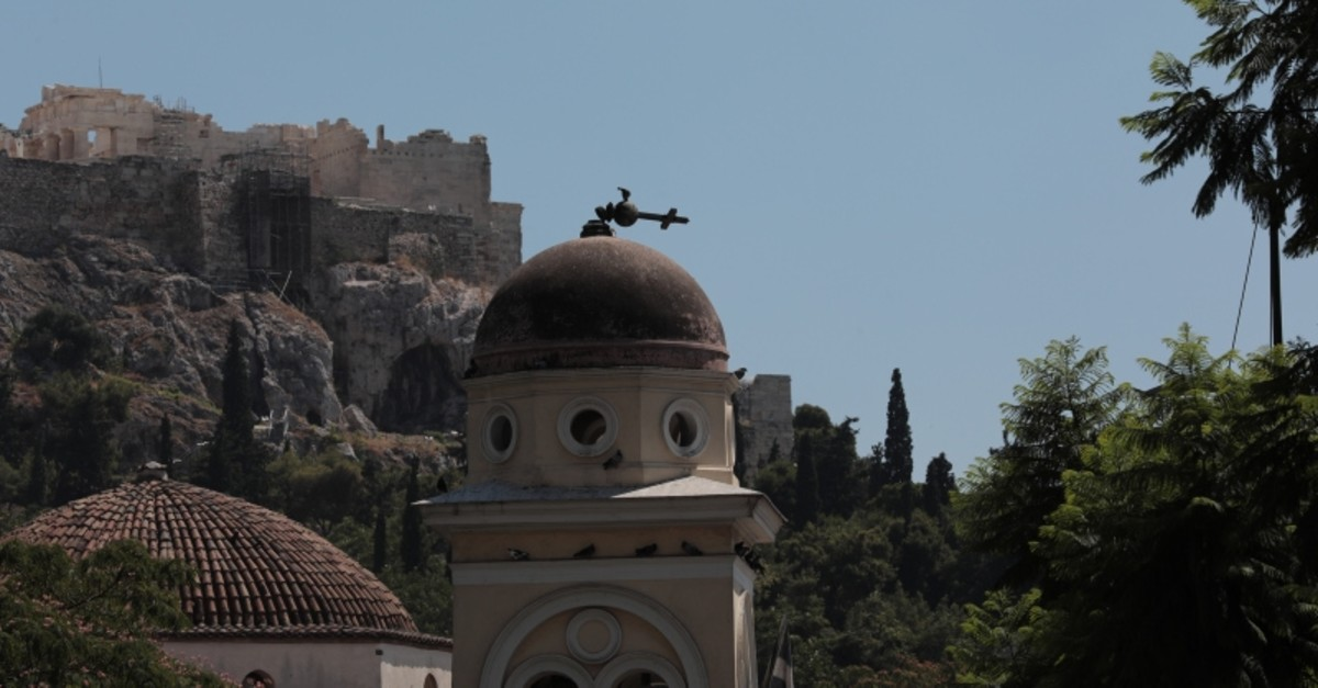 A church in Monastiraki Square, one of the most central squares in Athens, Greece, is seen damaged after an earthquake of 5.3-magnitude hit Athens on July 19, 2019. (IHA Photo)