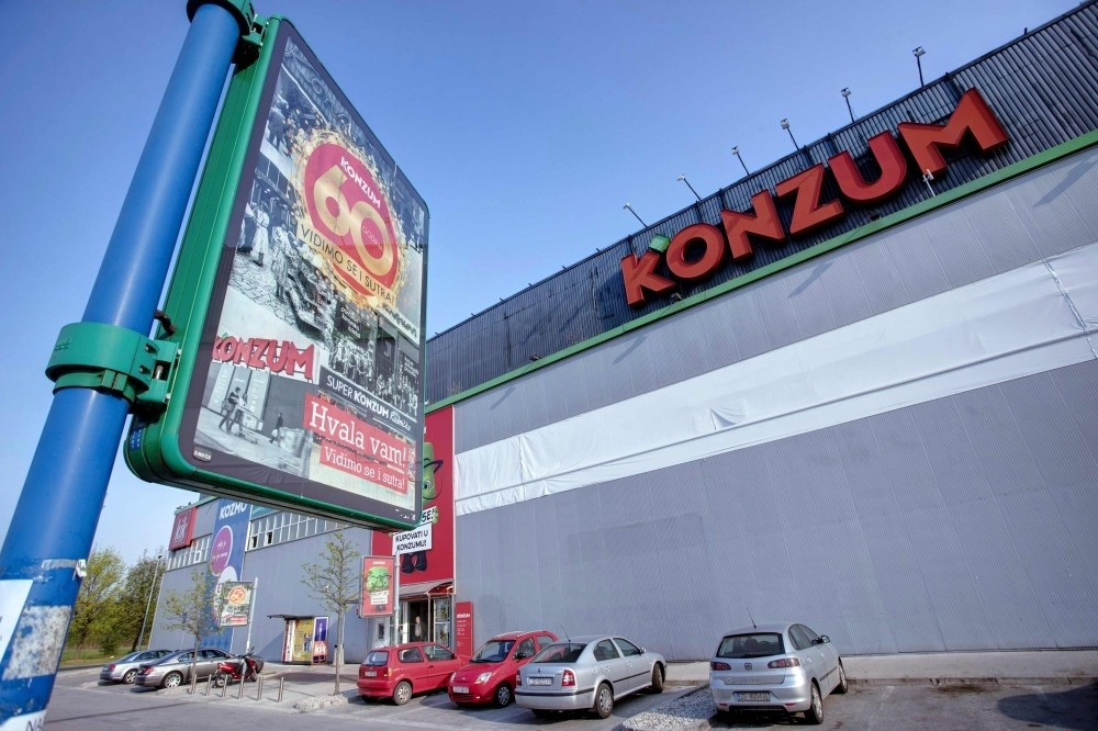 A bilboard celebrating the 60th anniversary of Konzum, a leading retail chain in Croatia, and part of Agrokor, is displayed next to the Konzum building in Zagreb, Croatia. (AFP Photo)