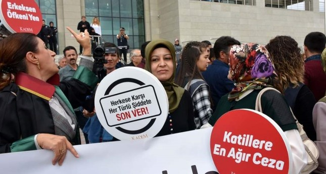 A group of activists and lawyers from KADEM Assocation stage a protest outside the courthouse, Kırıkkale, Oct. 21, 2019. (AA Photo)