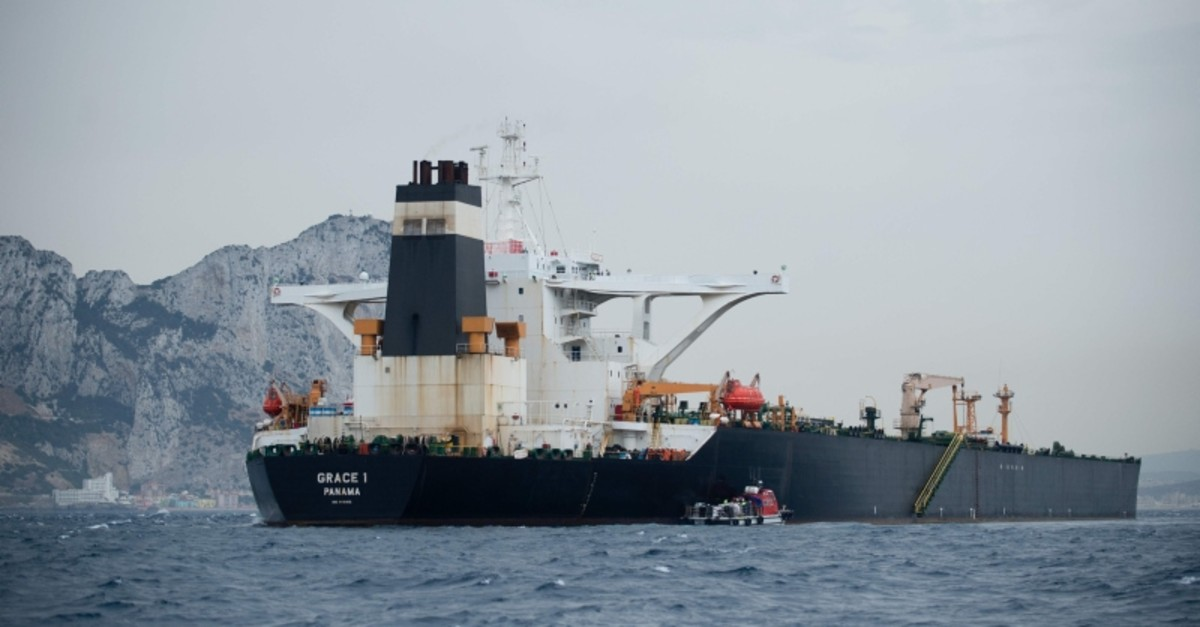 In this file photo taken on July 06, 2019 A picture shows supertanker Grace 1 off the coast of Gibraltar on July 6, 2019. (AFP Photo)