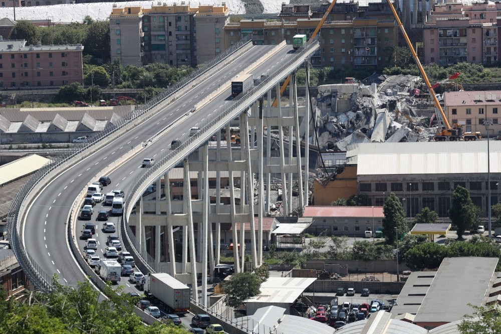 The collapsed Morandi Bridge in the Italian port city of Genoa, Aug. 16.
