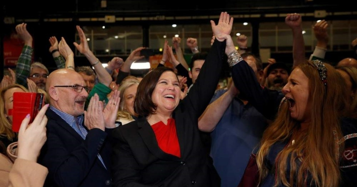 Sinn Fein leader Mary Lou McDonald reacts after the announcement of voting results in a count center, Dublin, Feb. 9, 2020. (REUTERS Photo)