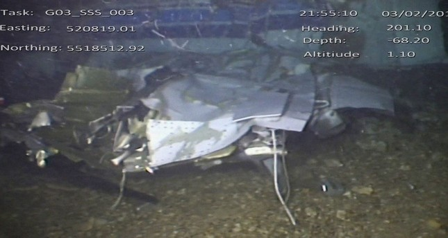 This still made from video provided by the Air Accidents Investigation Branch showing the wreckage of the plane which crashed into the Channel on Jan. 21, 2019 killing footballer Emiliano Sala. (AAIB via AP)