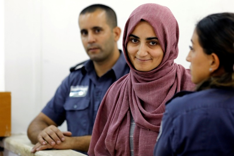 Turkish citizen, Ebru u00d6zkan, who was arrested at an Israeli airport last month, being brought to an Israeli military court near Migdal, Israel July 8, 2018. (REUTERS Photo)
