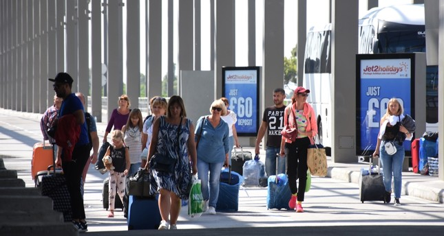 British tourists arrive at Dalaman Airport in the southwestern province of Muğla, Sept. 25, 2019.
