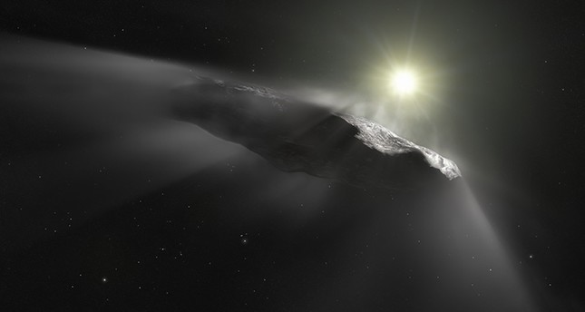 A handout photo released by the European Space Agency on June 27, 2018 shows an artist's impression of the first interstellar object discovered in the Solar System, `Oumuamua. (AFP Photo)