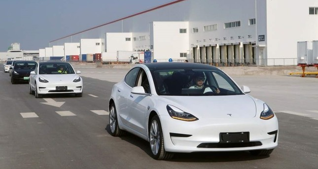 China-made Tesla Model 3 vehicles at the Shanghai Gigafactory of the U.S. electric car maker in Shanghai, China, Dec. 30, 2019. Reuters Photo