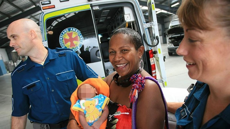 File Photo showing Raina Thaiday after one of her sons was born in an ambulance