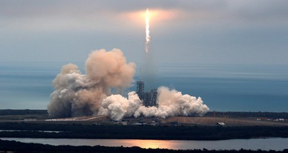 pA SpaceX Falcon rocket blasted off on Sunday from a historic NASA launch pad at the Kennedy Space Center in Florida, then succeeded in landing itself back on the ground nine minutes...