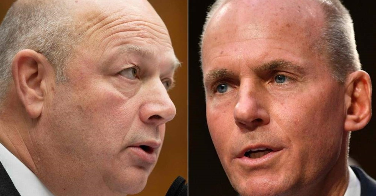 This combination of file pictures created on Jan. 11, 2020 shows Federal Aviation Administration (FAA) Administrator Stephen Dickson (L) on Dec. 11, 2019, testifying before Congress in Washington, DC; and Boeing President and Chief Executive Officer Dennis Muilenburg on Oct. 29, 2019, testifying before Congress in Washington. (AFP Photo)