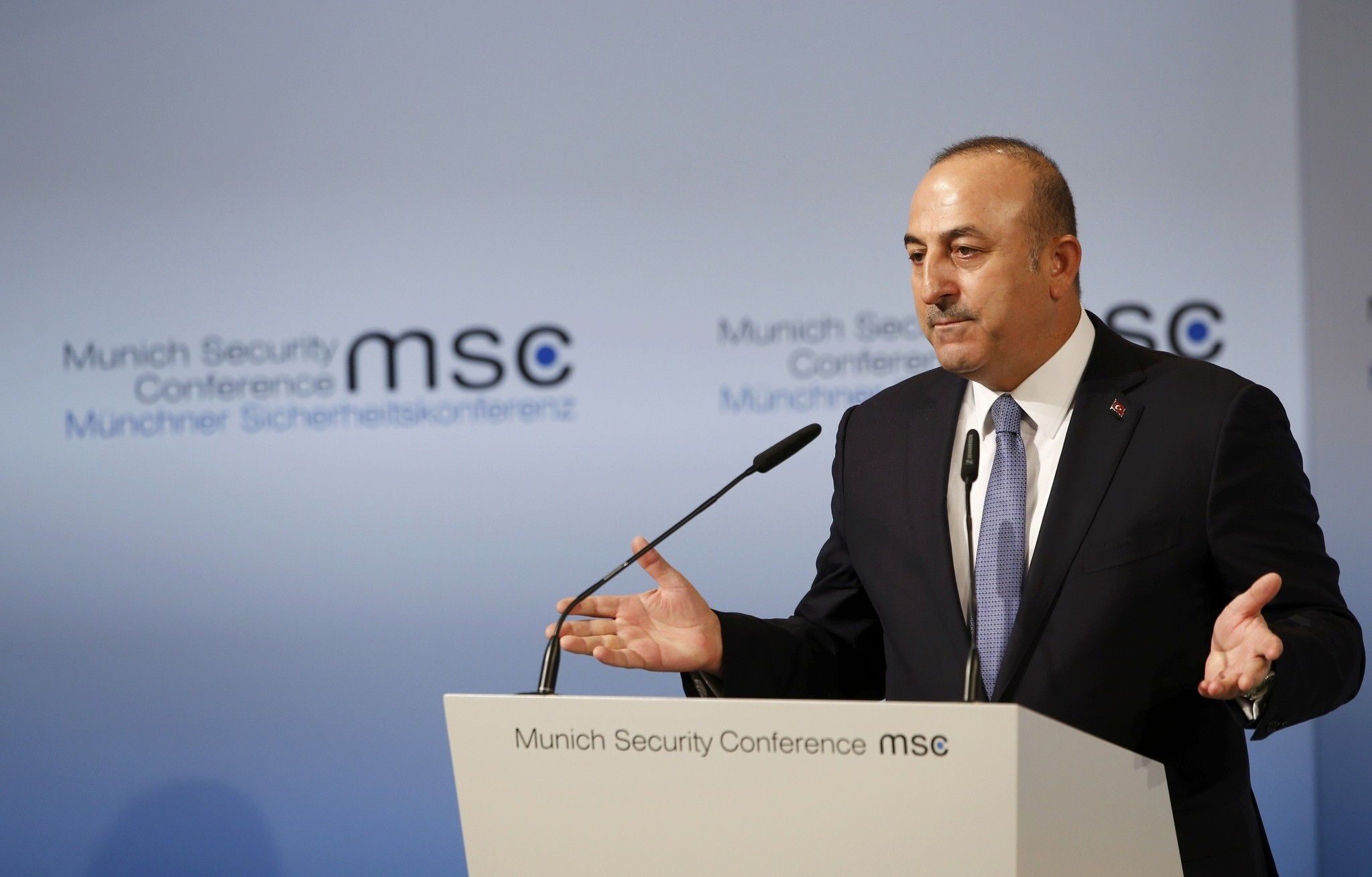 Turkish Foreign Minister Mevlu00fct u00c7avuu015fou011flu delivers his speech during the 53rd Munich Security Conference in Munich, Germany, February 19, 2017. (REUTERS Photo)