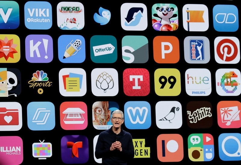 Apple CEO Tim Cook speaks during an announcement of new products at the Apple Worldwide Developers Conference Monday, June 4, 2018, in San Jose, Calif. (AP Photo)